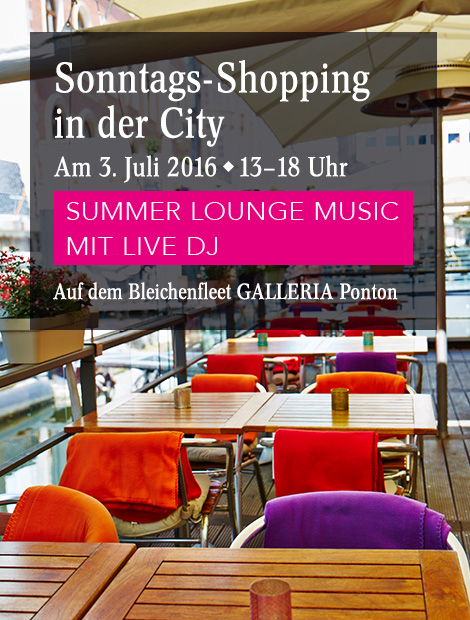 verkaufsoffener sonntag hamburg am mit live dj galleria die passage. Black Bedroom Furniture Sets. Home Design Ideas