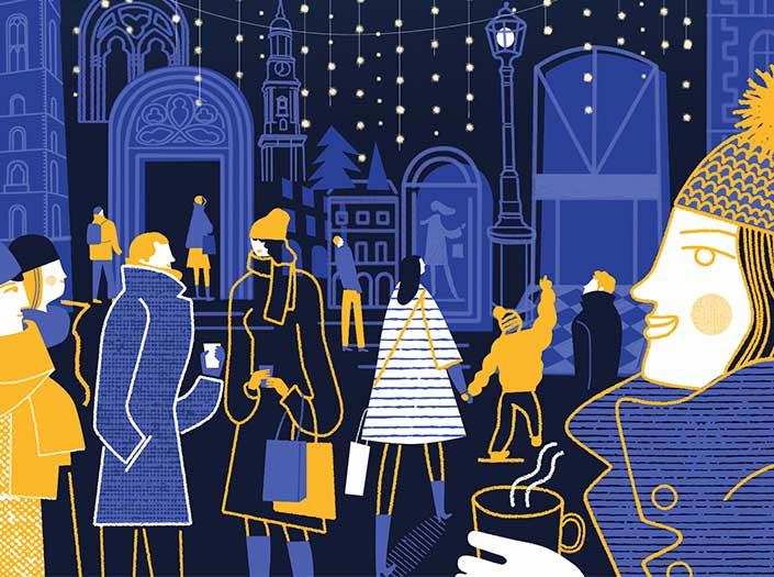 Sternenzauber Passagenviertel Hamburger Einkaufsstraße in traditioneller Weihnachtsbeleuchtung